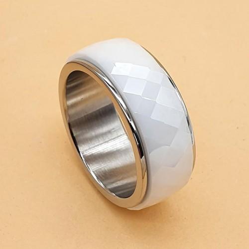 Кольцо антистресс из медицинской стали и керамики женское с оборачивающимся элементом