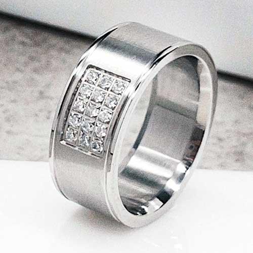 9db74a50755641 Обручальное кольцо из медицинской стали матовое 9 мм с циркониями - ks-1280