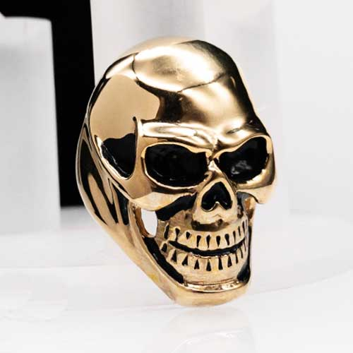 Байкерское кольцо из медицинской стали Золотой череп