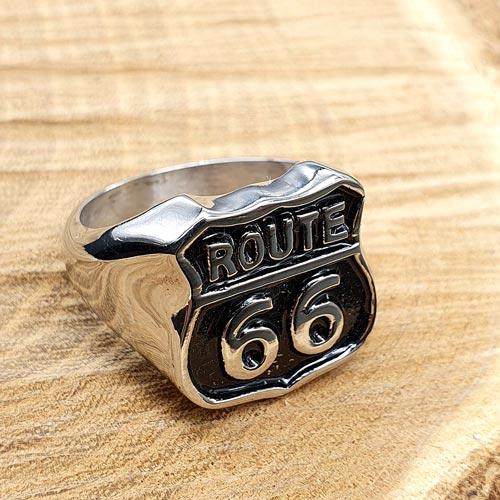 Байкерское кольцо-печатка из медицинской стали Route 66