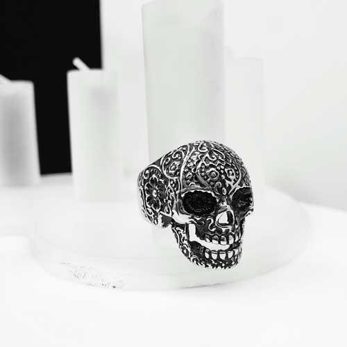Байкерское кольцо из медицинской стали Череп