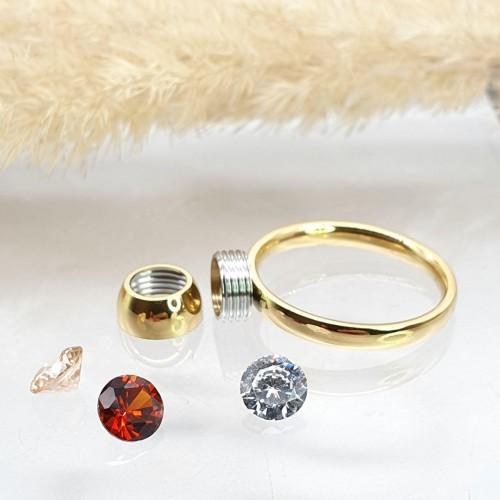 Кольцо для предложения (помолвки) из медицинского золота со съемными камнями Летисия