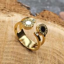 Кольцо с фианитами и перламутром ювелирная сталь Иберика