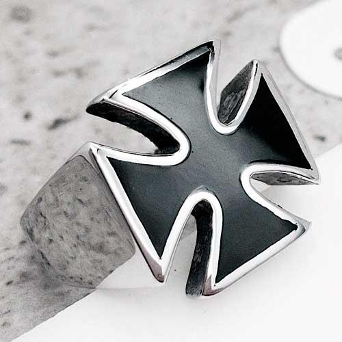 Байкерское кольцо-печатка из медицинской стали Мальтийский крест с черной эмалью