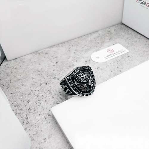 Байкерское кольцо-печатка из медицинской стали Харли-Дэвидсон