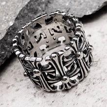 Байкерское кольцо из стали с узором из стилизованных крестов