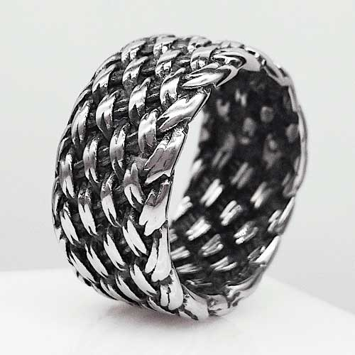 Байкерское плетеное кольцо из медицинской стали