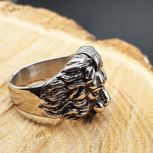 Байкерское кольцо из стали Голова льва