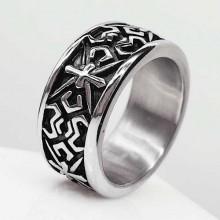 Байкерское кольцо из стали Ночной волк