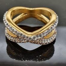 Кольцо металлическое из медицинской стали с циркониями Ханум