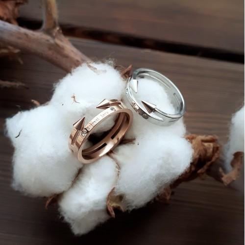 Кольцо женские с надписью Eternal Love под розовое золото