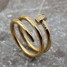 Кольцо из медицинской стали женское Золотой гвоздь с циркониями