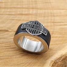 Байкерское кольцо из стали Черный байк