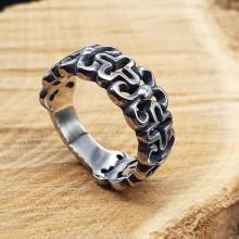 Байкерское стальное кольцо Орнамент
