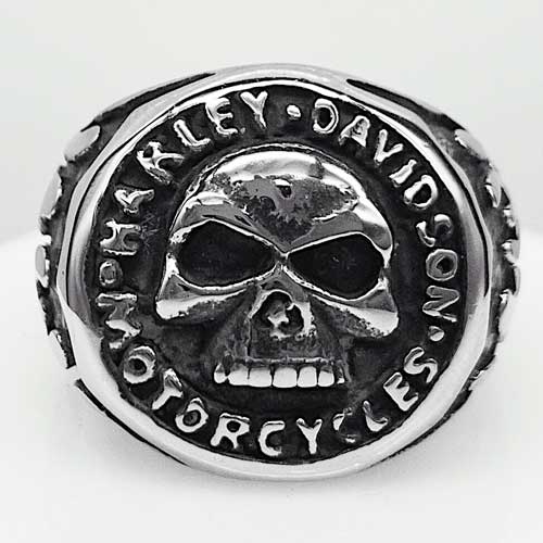 Байкерское стальное кольцо с черепом и эмблемой Motor Harley-Davidson