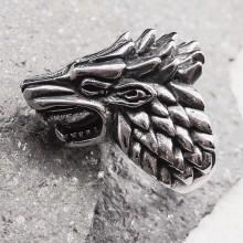 Байкерское кольцо из медицинской стали Оскал волка