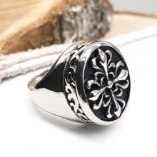 Мужское кольцо-печатка из медицинской стали со стилизованным крестом