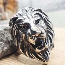 Эффектное стальное кольцо для мужчин Лев