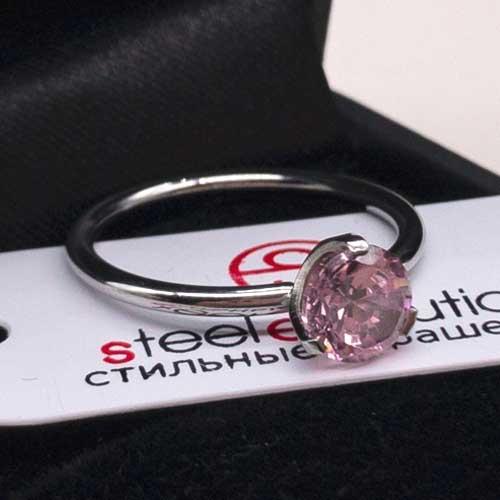 Женское изящное кольцо из медицинской стали с розовым кристаллом