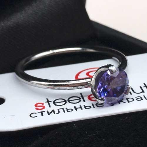 Женское изящное кольцо из медицинской стали с фиолетовым кристаллом