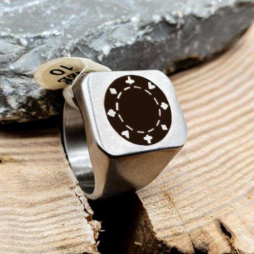 Кольцо-печатка из стали под гравировку мужское Классика матовое