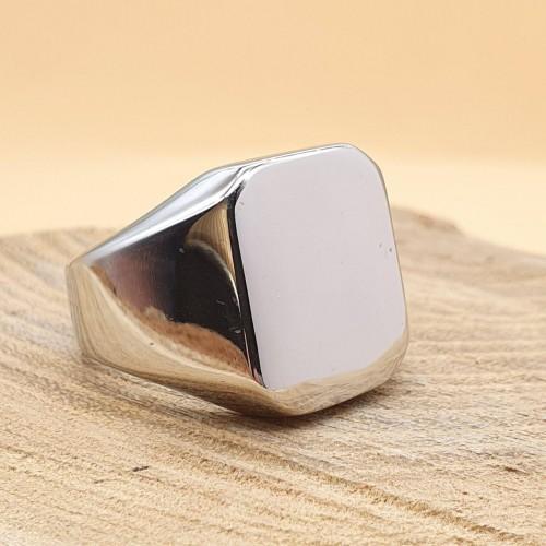 Кольцо-печатка из медицинской стали мужское Классика глянцевое