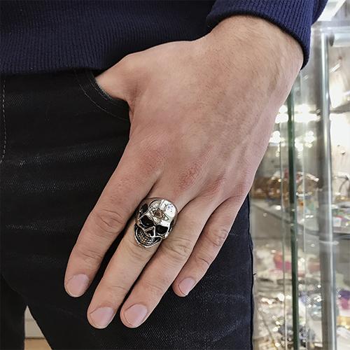 Байкерское кольцо из медицинской стали Череп Сильвера