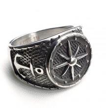 Байкерское кольцо-печатка из медицинской стали Капитан