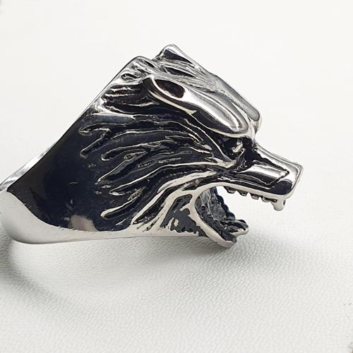 Байкерское кольцо из медицинской стали Волк