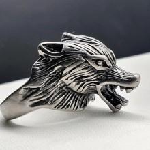 Байкерское кольцо из медицинской стали Голова волка