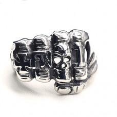 Байкерское кольцо из медицинской стали Кулак с черепом