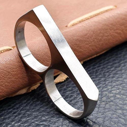 Кольцо из стали мужское на два пальца Kastet матовое