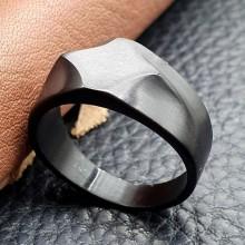 Кольцо-печатка из медицинской стали мужское Нирвана черное матовое