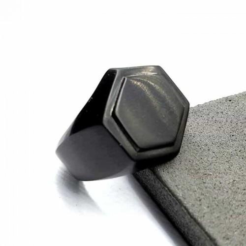Кольцо-печатка из медицинской стали мужское Пентагон черное матовое