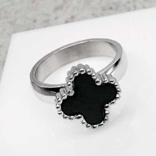 Женское кольцо из стали Четырехлистник