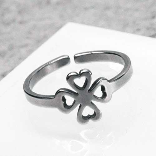 Кольцо из медицинской стали на фалангу женское Клевер