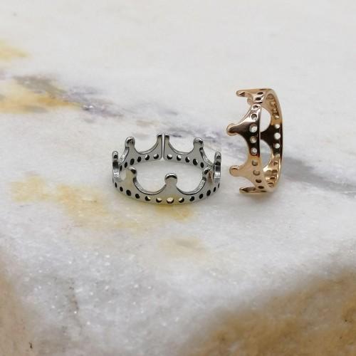 Женское фаланговое кольцо Корона в двух цветах