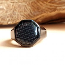 Кольцо-печатка из медицинской стали Классика черное