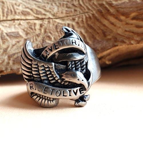 Байкерское стальное кольцо Орел
