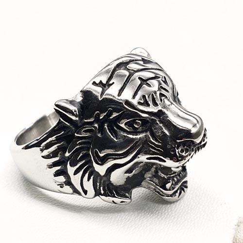 Байкерское кольцо из медицинской стали Голова тигра