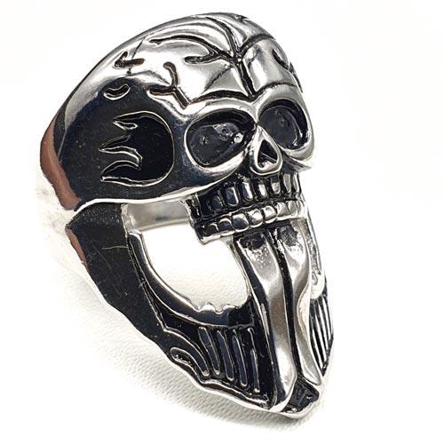 Байкерское кольцо из медицинской стали Череп Тифона