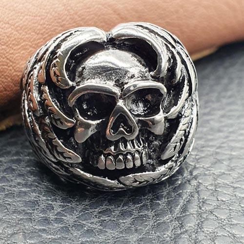 Байкерское мужское кольцо с черепом из медицинской стали Метатрон