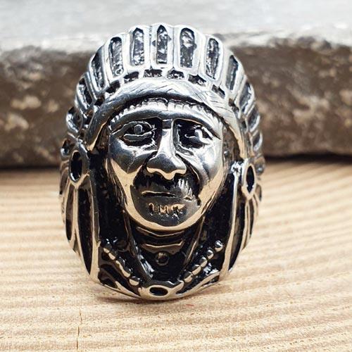 Байкерское кольцо из медицинской стали Индеец Джо