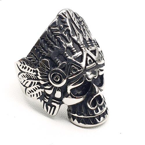 Байкерское кольцо из медицинской стали с черепом Черный Дух