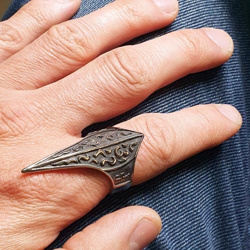 Байкерское кольцо из медицинской стали Невидимый щит