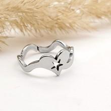 Женское фаланговое кольцо Сердечко со звездой