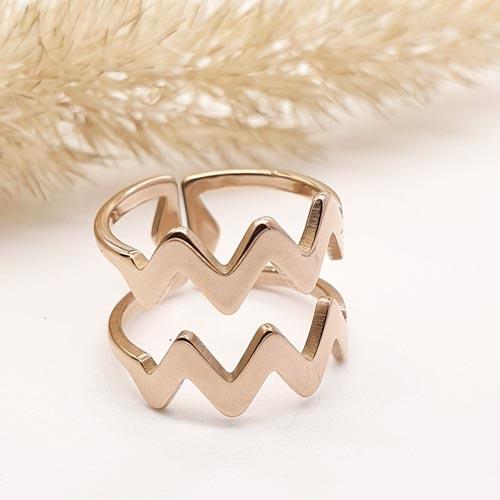 Кольцо из медицинской стали на фалангу женское Волны