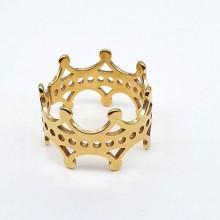 Стальное женское кольцо Корона с PVD покрытием