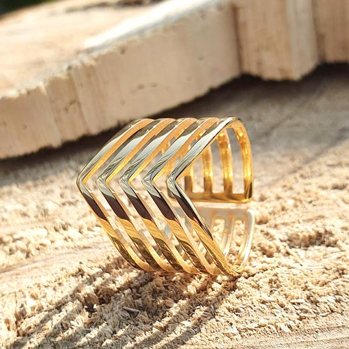 Кольцо из ювелирной стали женское Наугольник золото