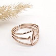Кольцо на фалангу из ювелирной стали с покрытием Кардио